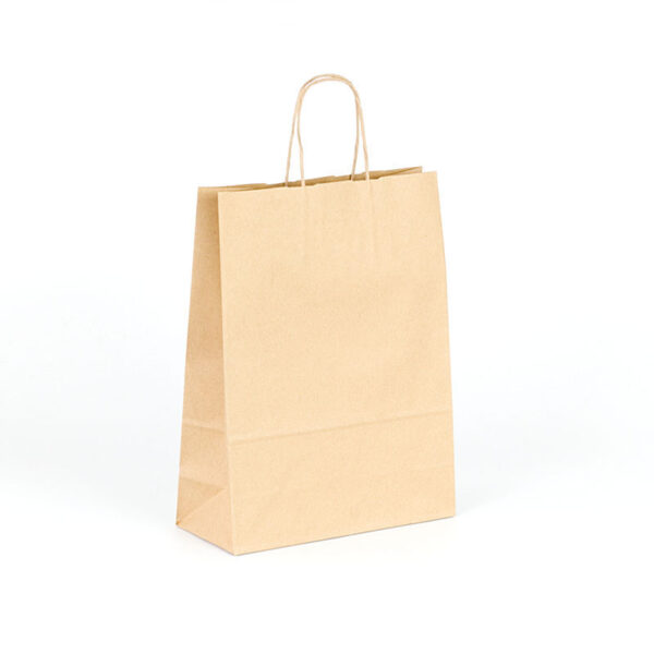 Bolsas de papel kraft marrón 23x10x32 asa rizada