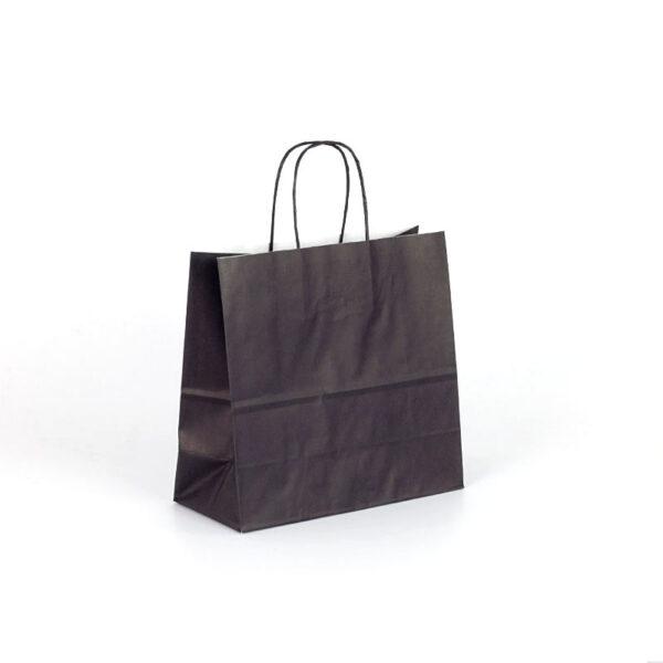 Bolsa de papel cuadrada pequeña 25x11x24 negra