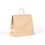 Bolsa de papel apaisada 32x13x28 asa rizada kraft marrón verjurado