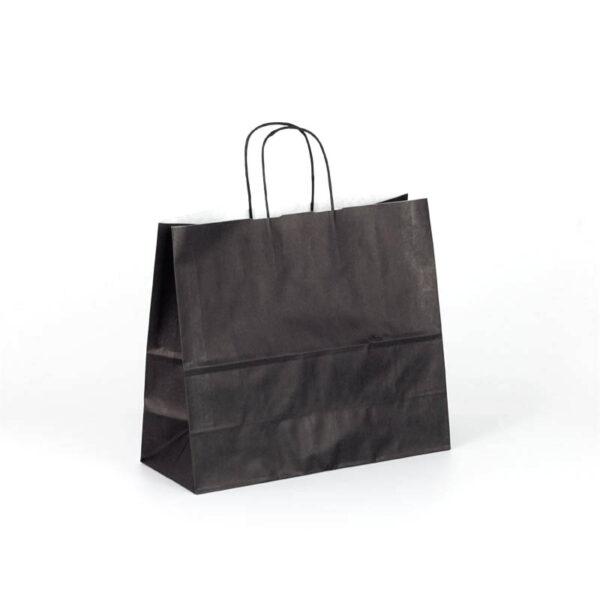 Bolsas de papel apaisadas negras asa rizada 32x13x28