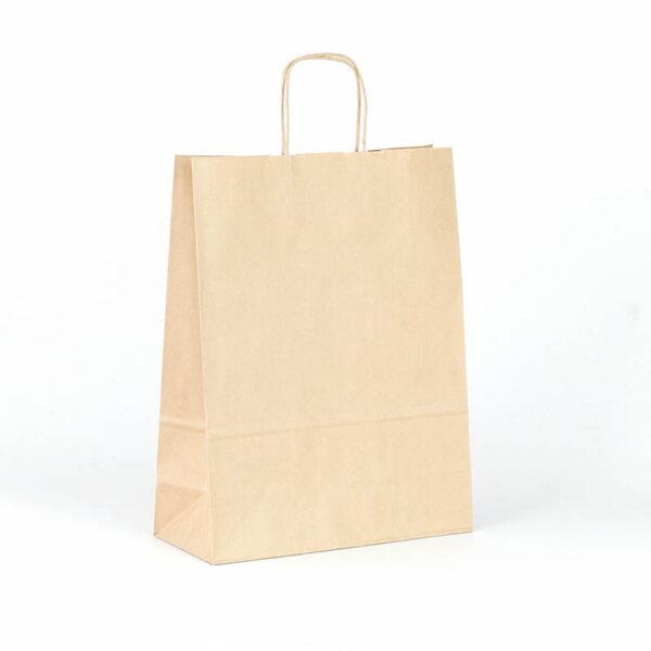 Bolsas de papel baratas asa rizada kraft marrón 32x13x41 avana