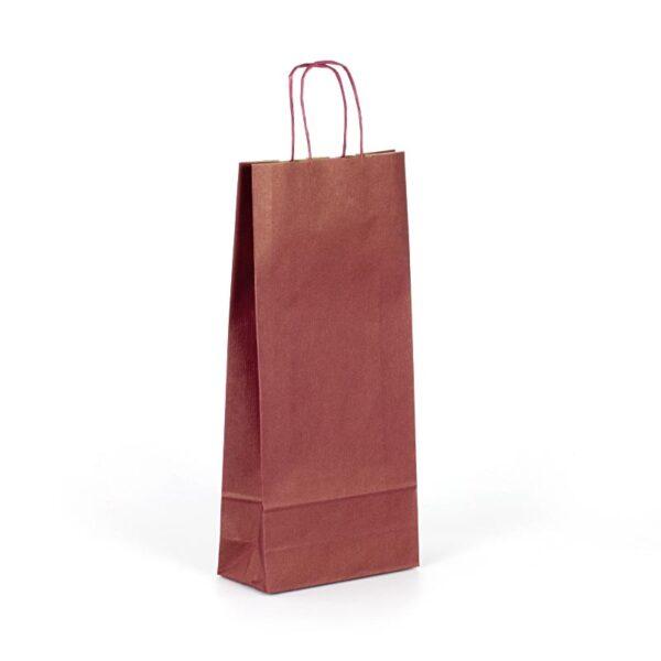 Bolsa de papel para 2 botellas granate