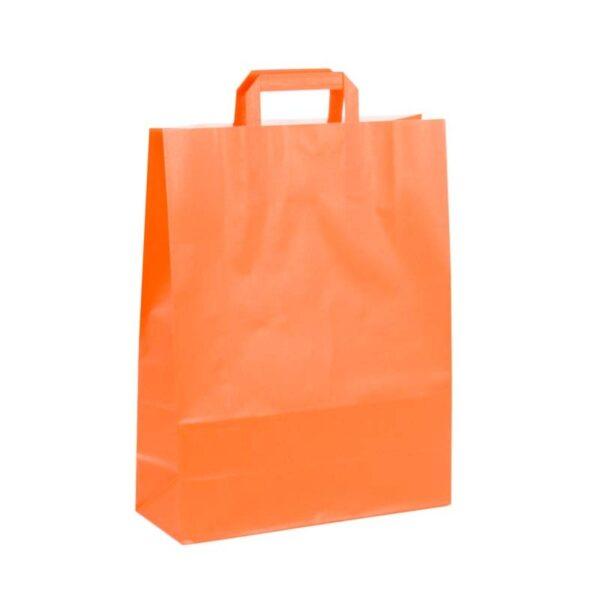 Bolsas de papel asa plana 32x12x41 naranja