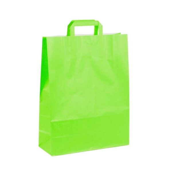 Bolsas de papel asa plana 32x12x41 pistacho