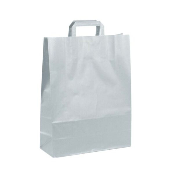 Bolsas de papel asa plana 32x12x41 plata