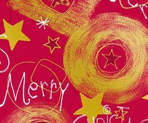 Bobina de papel de regalo de navidad rojo y oro