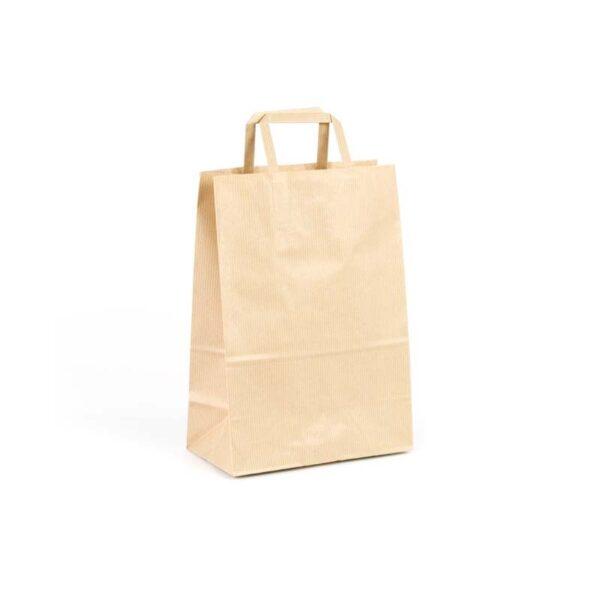 Bolsas de papel asa plana 20x11x28 kraft marrón verjurado