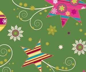 Papel de regalo para navidad con dibujos coloridos de estrellas y adornos navideños