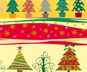 Papel de regalo para navidad con dibujos de arboles de Navidad, estrellas y copos de nieve