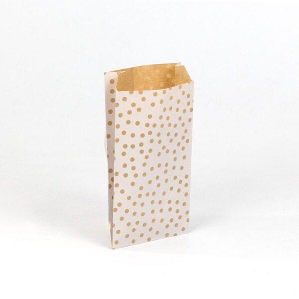 sobres papel kraft para regalo 11x21+5 lunares blancos