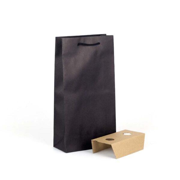Bolsas de lujo para 2 botellas 20x9x38 negra