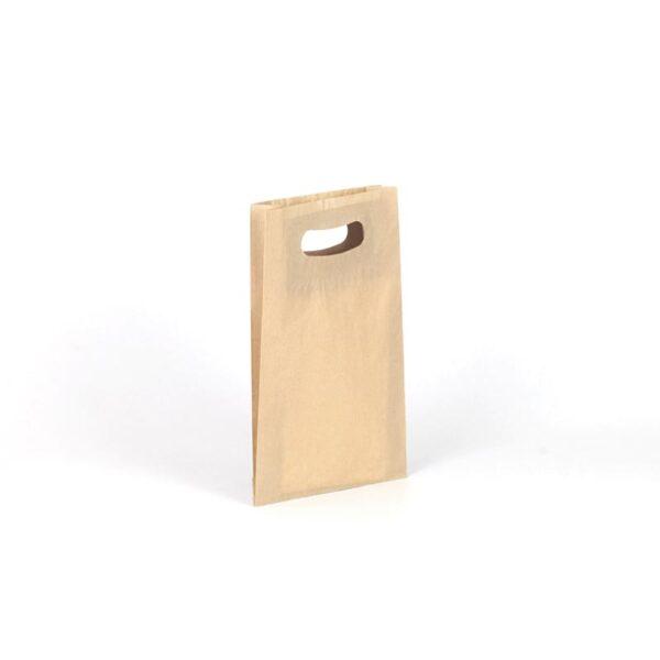 Bolsa de papel kraft asa troquelada pequeña 18x29+6 kraft marrón verjurado