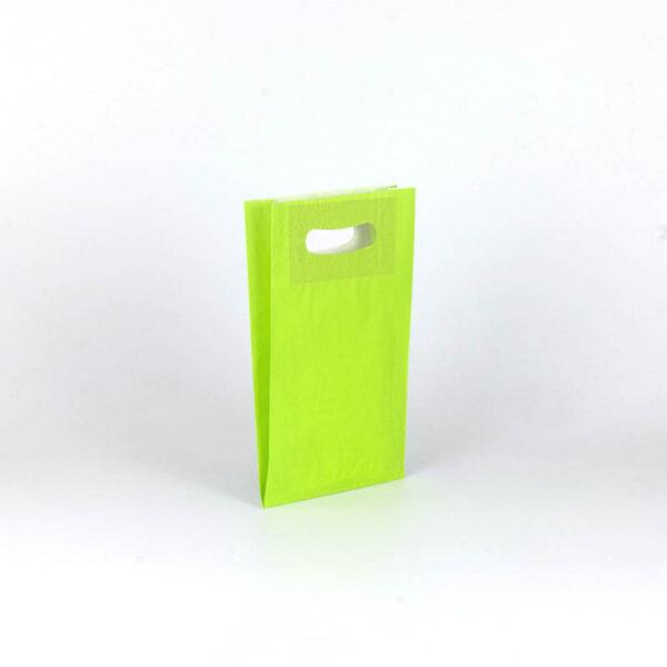 Bolsa de papel asa troquelada pequeña 18x29+6 verde pistacho
