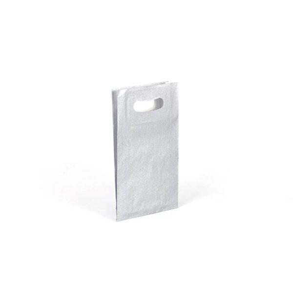 Bolsa de papel asa troquelada pequeña 18x29+6 plata