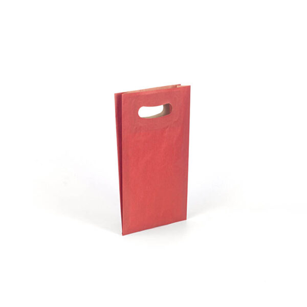 Bolsa de papel asa troquelada pequeña 18x29+6 roja