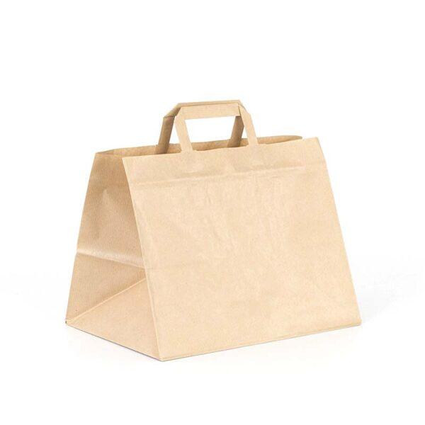 bolsa de papel take away 32x22x25 kraft marrón verjurado