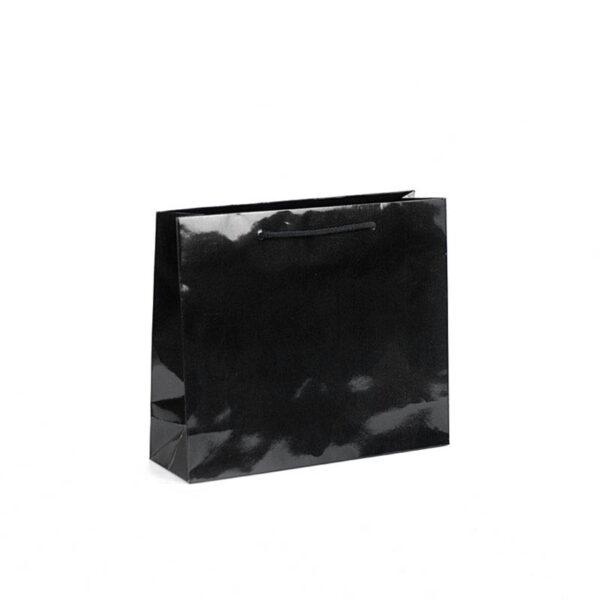 bolsas de lujo apaisadas brillo 32x10x27 negra
