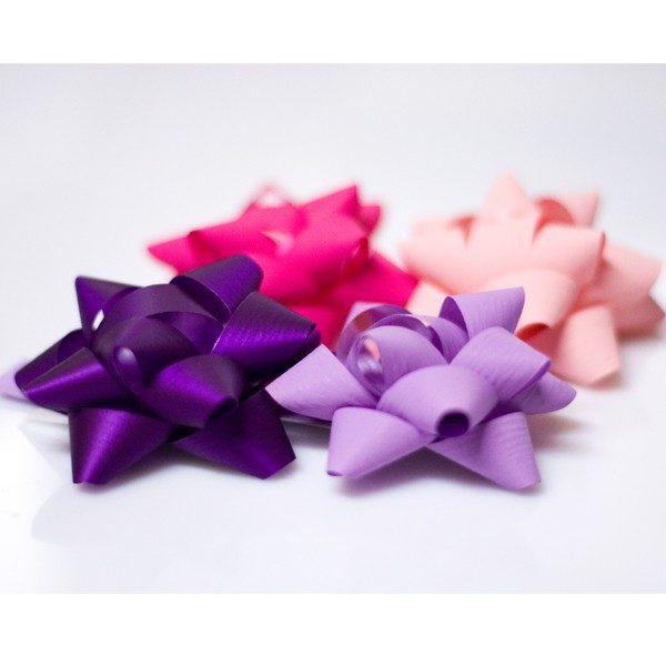Pompones adhesivos papel sintético medianos surtidos de color rosa lila violeta morado