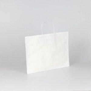 bolsa plana papel barata 36+10x27 blanca