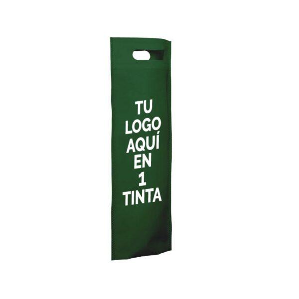 Bolsa de tela personalizadas para botellas verde
