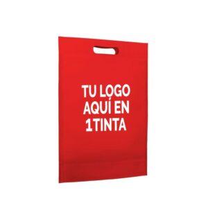 Bolsa de tela personalizada asa troquelada 17x21+5 roja