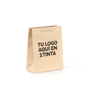 Bolsas de lujo kraft personalizadas asa cordón 22x10x27 1 tinta