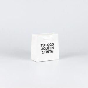 Bolsas de lujo pequeñas brillo personalizadas 14x7x14 blanca