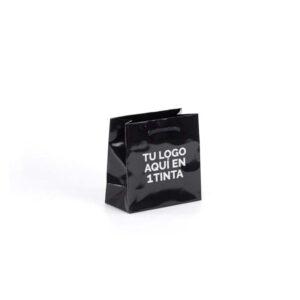 Bolsas de lujo pequeñas brillo personalizadas 14x7x14 negra