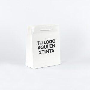 bolsas de lujo plastificadas personalizadas 22x10x27 blanca