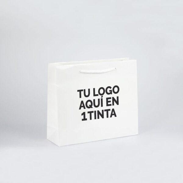 Bolsas de lujo personalizadas plastificado brillo 32x10x27 blancas