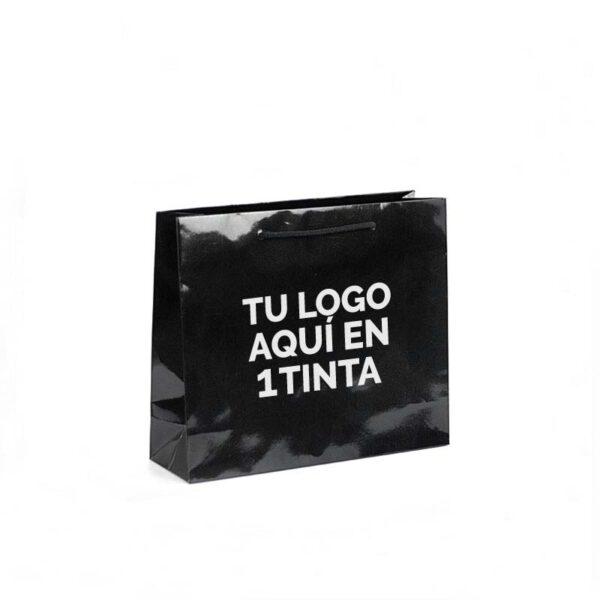 Bolsas de lujo personalizadas plastificado brillo 32x10x27 negras