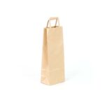 bolsa de papel asa plana para botellas 14x9x36 kraft marrón verjurado