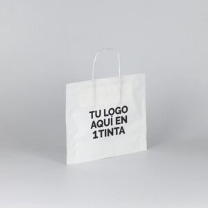 Bolsas de papel bbgas personalizada 30+10x25 blanca