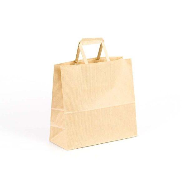 Bolsas de papel asas plana 24x10x23 kraft marrón verjurado
