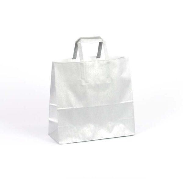 Bolsas de papel asas plana 24x10x23 plata