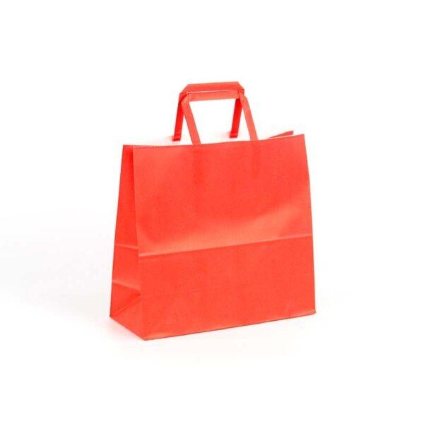 Bolsas de papel asas plana 24x10x23 rojo