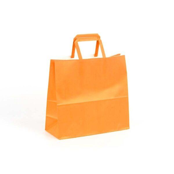 Bolsas de papel asas plana 24x10x23 naranja