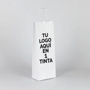 Bolsas de papel kraft personalizadas para botellas 15x8x39.5 blanca