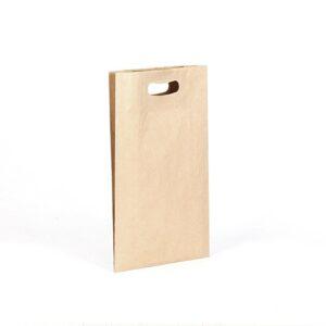 Bolsa de papel kraft asa troquelada pequeña 20x40x10 kraft marrón verjurado
