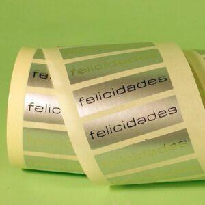 Etiquetas adhesivas plata felicidades