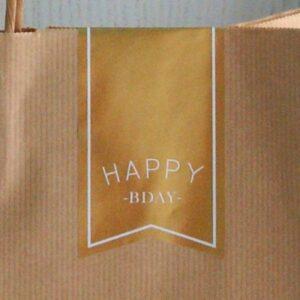 Etiquetas adhesivas cierra bolsas oro happy bday