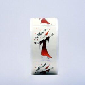Etiquetas adhesivas blancas dibujo mago metalizado felicidades