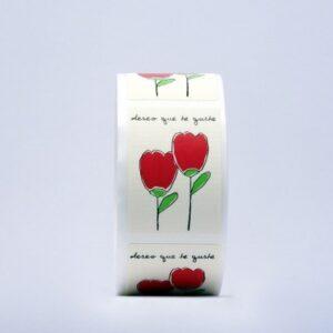 Etiquetas adhesivas blancas dibujo tulipanes deseo que te guste