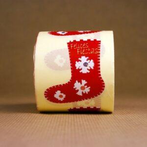 Etiquetas adhesivas roja de Feliz Navidad en forma de calcetín