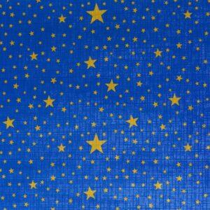 Bobina de papel de regalo metalizado de navidad azul con estrellas doradas