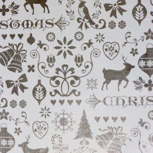 Bobina de papel de regalo de navidad plata con dulces renos y dibujos navideños