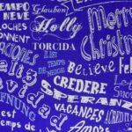 Bobina de papel de regalo de navidad azul o plata eléctrico con multilenguaje