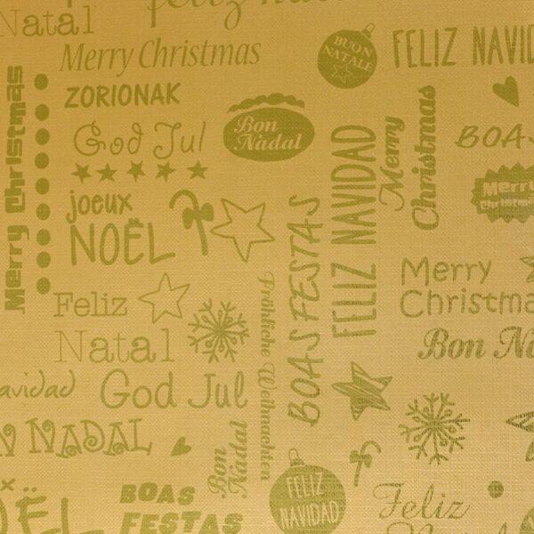 Bobina de papel de regalo de navidad oro o verde con mensaje Feliz navidad