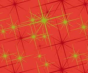 Bobina de papel de regalo de navidad rojo y estrellas doradas