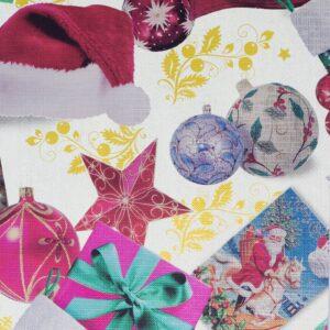 Bobina de papel de regalo con clásico motivo navideño